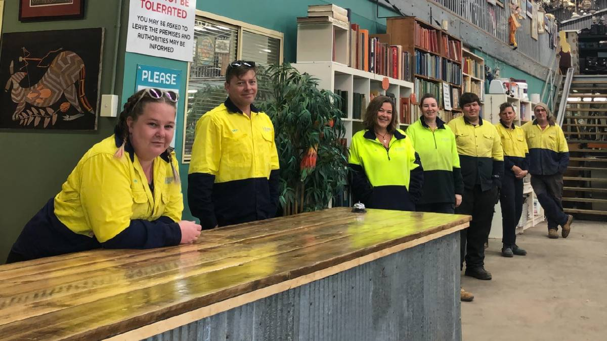 The Reviva Moss Vale team from left Ashlei Krebs, Recovery Australia general manager Matt Curtis, Libby Lee, Resource Recovery Australia deputy general manager Ally Glendenning, Will Armstrong, Tamara Strong and Steve Glendenning. Photo supplied