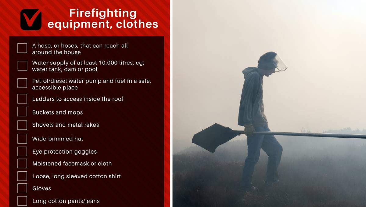 What you need to stay and fight a bushfire