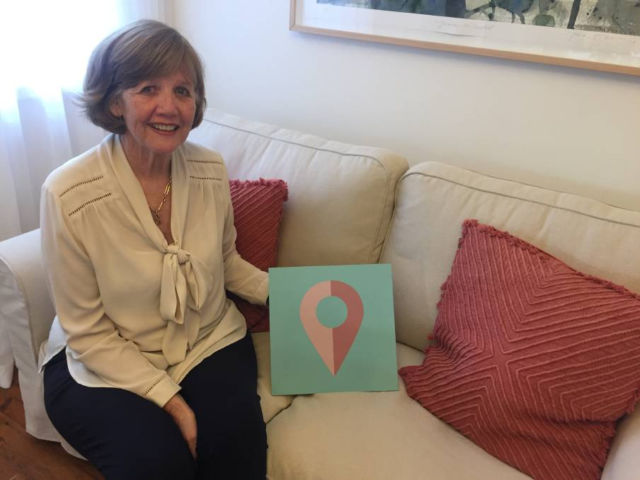 Vicki Kelley with the Pop In symbol she hopes becomes a sign of peace and safety for the women of the Southern Highlands.